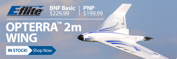 Now in stock - The E-flite Opterra 2m flying wing