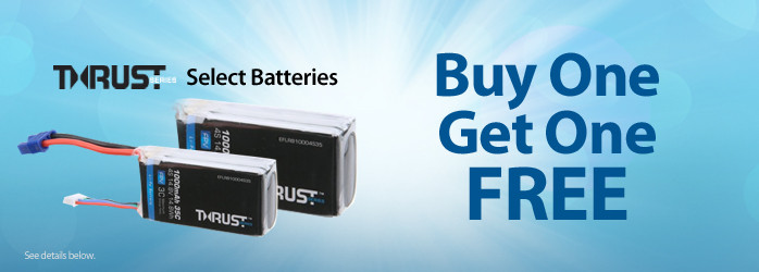 Buy one E-flite Thrust Battery, Get One Free (select batteries only)