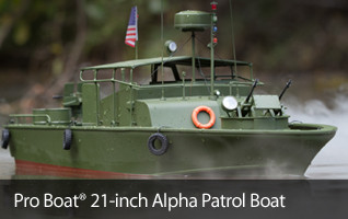 The Pro Boat Alpha Patrol Boat is perfect for the lake or your mantle
