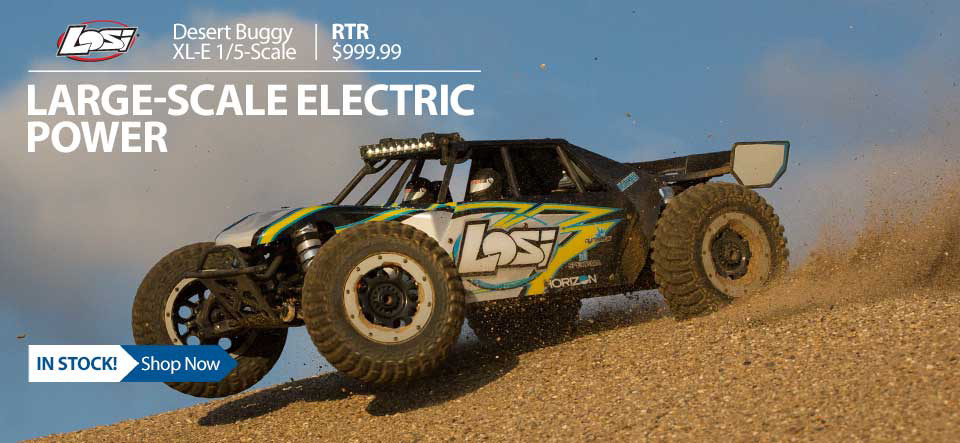 Get ready for the big leagues—the Losi® 1/5 DBXL-E offers a wild, adrenaline-pumping experience. Blast across the terrain at speeds of 50+ mph*! And forget the mess of gas—this basher is 100 percent electric. LOS05012T1 LOS05012T2