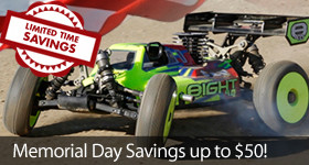 Memorial Day Savings - Save up to $50 off select TLR, Spektrum and Team Orion gear