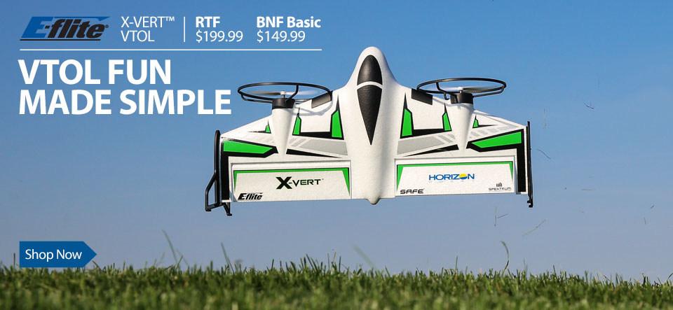 E-flite X-VERT VTOL Vertical Take Off and Landing RC Airplane