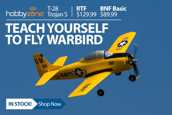 In stock! HobbyZone T-28 Trojan S teach-yourself-to-fly Airplane