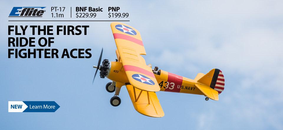 E-flite PT-17 1.1m WWII RC Biplane Warbird Airplane