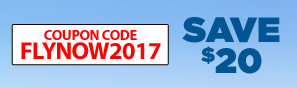Save $20 with promo code FLYNOW2017