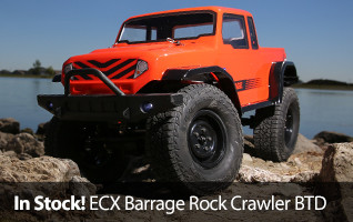 Build your next RC truck with the 4WD Barrage 1.9 Scaler Build-To-Drive Kit. Enjoy building the Barrage with the included tools, powerful motor, realistic suspension, oil-filled shocks, waterproof electronics and more.