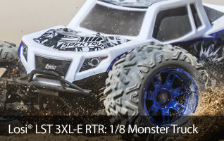 Don't go big, go HUGE with the amazing Ready-To-Run Losi LST 3XL-E 4WD Electric Monster Truck.