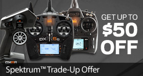 Trade in your old transmitter and trade up with up to $50 off a NEW Spektrum transmitter