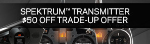 Trade in your old transmitter and trade up with $50 off a NEW Spektrum transmitter