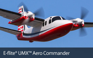 E-flite UMX Aero Commander BNF Basic with AS3X Scale Ultra Micro RC Twin-Engine Airplane