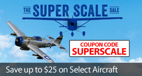 Save up to $25 on select scale RC airplanes with code SUPERSCALE