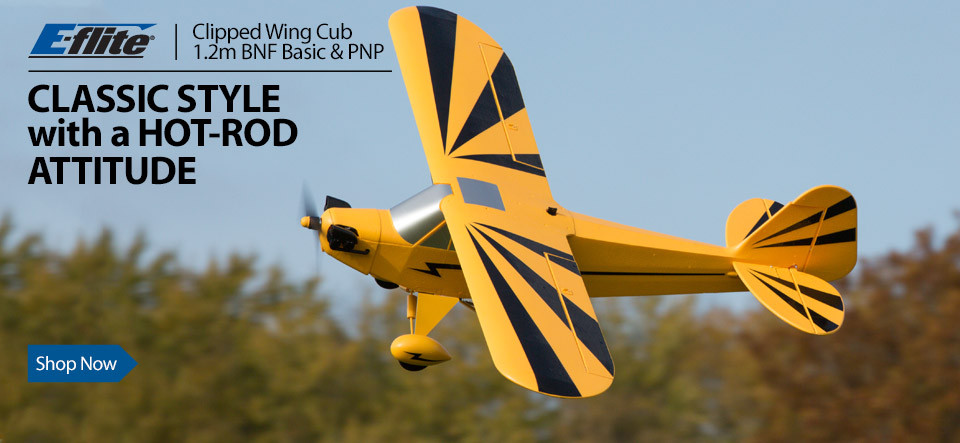 E-flite Clipped Wing Cub 1.2m BNF Basic and PNP Scale Civilian RC Airplane