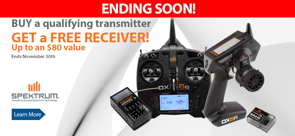 Get a free receiver with the purchase of select Spektrum Transmitters