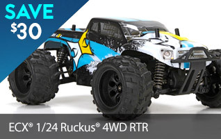 Save $30 off the 1/24-scale 4WD ECX Ruckus & hit the road and everywhere in-between.