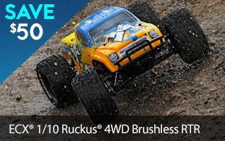Save $50 off the Brushless ECX Ruckus with ballistic power of a brushless power system, 4WD and comes completely ready-to-run with AVC technology.