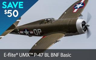 Save $50 on the E-flite UMX P-47 Brushless BNF Basic