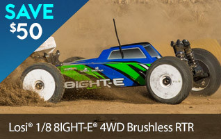 Save $50 off the Losi 8IGHT-E RTR Brushless 1/8 scale buggy