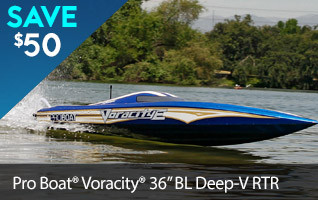 Save $50 and satisfy your craving for speed and precision with the Pro Boat Voracity-E 36 Brushless Deep-V.