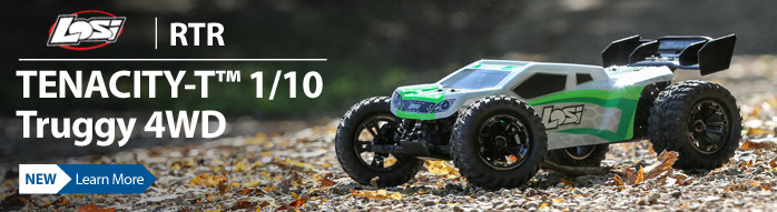 The 1/10 scale Losi TENACITY-T Truggy RTR is incredibly durable, fast and you can run it with the precision control of a Spektrum AVC system.