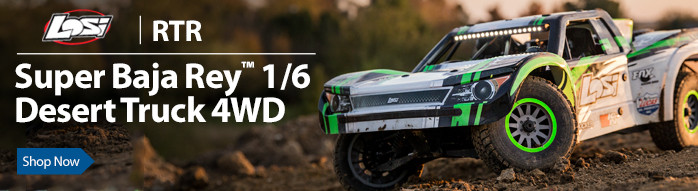 The Losi Super Baja Rey RTR features impressive scale looks, incredible durability and performance that yields speeds of up to 50+ MPH, all in total control with Spektrum AVC.