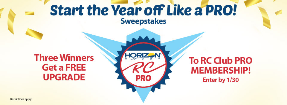 Horizon Hobby RC Sweepstakes! Enter for a chance to win one of three free upgrades to RC Club Pro Membership status