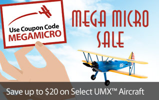 Mega Micro Sale - Save up to $20 on select E-flite UMX Airplanes with code MEGAMICRO