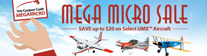Save up to $20 on Select E-flite UMX Aircraft with code MEGAMICRO, through February 28
