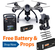Get a free extra battery and replacement prop set with the purchase of a Yuneec Q500 4K RTF Camera Drone