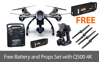 Get a free extra battery and replacement prop set with the puchase of a Yuneec Q500 4K RTF Camera Drone