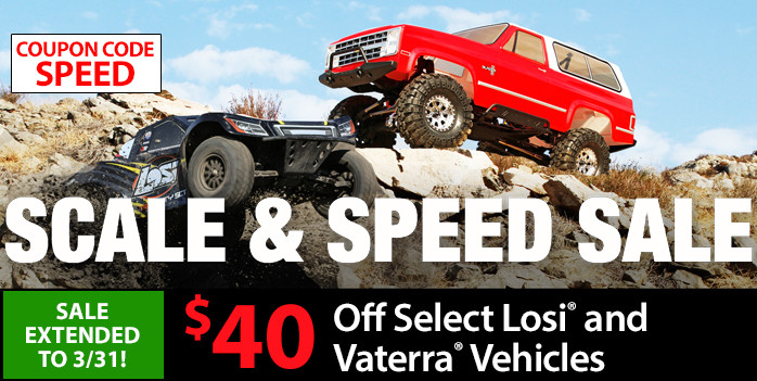 Save up to $40 on Select LOSI and Vaterra RC vehicles, through February 28