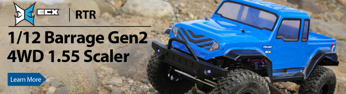 ECX ups the ante with the larger 1/12 Barrage Gen2 4WD 1.55 Scaler.