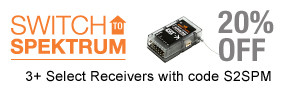 Save when you buy 3 or more qualifying Spektrum receivers through December 31, 2018 with code S2SPM - Click here to view all qualifying receivers