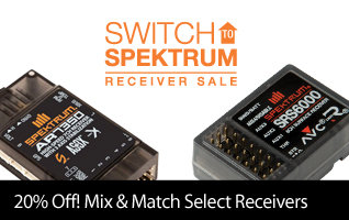 Mix and Match 3+ Select Spektrum Receivers and Get 20% Off with Coupon Code S2SPM through December 31, 2018