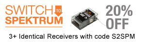 Save 20% when you buy 3 or more this Spektrum receiver with code S2SPM, through April 2