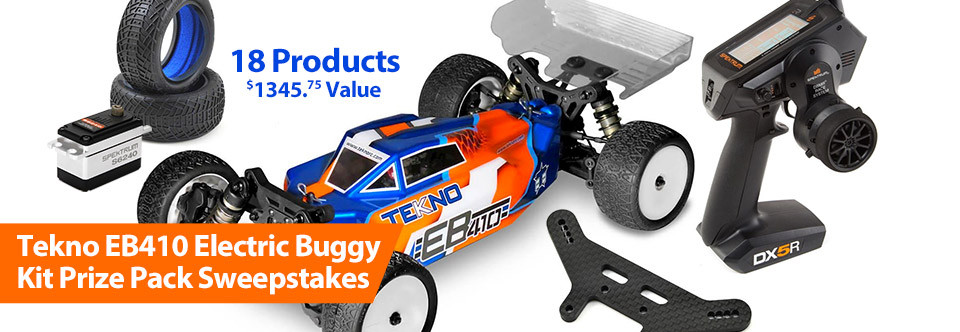 Enter for a chance to win a Tekno EB410 Electric Buggy Kit and Spektrum DX5R Prize Package