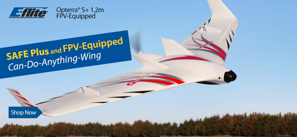 E-flite Opterra S+ 1.2m FPV-Equipped Flying Wing RC Airplane