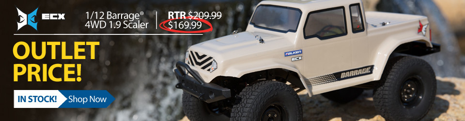 New Outlet Price! 1/12 Barrage 4WD 1.9 Scaler Brushed RTR RC Truck