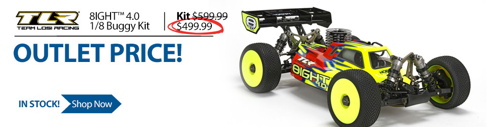 New Outlet Price! Save $100 on the TLR 1/8 8IGHT 4.0 4WD Nitro RC Buggy Race Kit