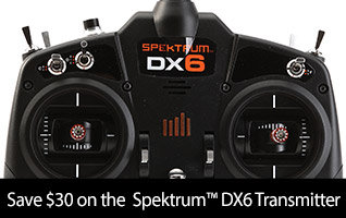 Save $30 on the Spektrum DX6 6-channel DSMX Gen 3 RC Radio Transmitter Only
