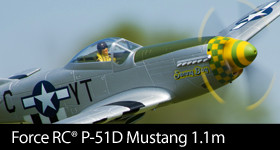 Force RC P-51D Mustang 1.1m PNP - Order by July 26 and get a free Kinexsis F-Tek 2200mAh 3S 11.1V 30C Li-Po flight battery