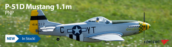 New and In Stock! Force RC P-51D Mustang 1.1m PNP Warbird