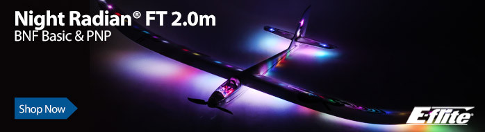 E-flite Night Radian FT 2.0m Sport Lighted RC Powered Glider Sailplane