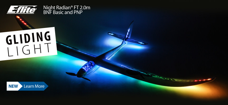 New! E-flite Night Radian FT 2.0m BNF Basic and PNP Powered Glider Sailplane with integrated lights