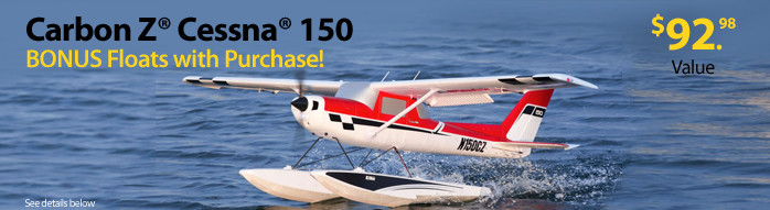 Get a free float set and wire mounting set with the purchase of an E-flite Carbon-Z Cessna 150 2.1m BNF Basic or PNP Scale RC Airplane