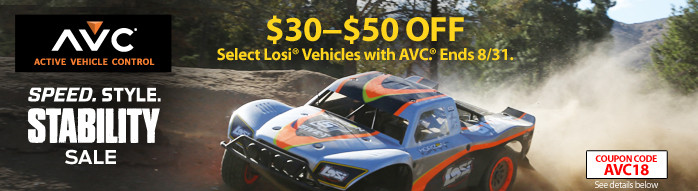AVC Speed Style Stability - Save up to $50 on select AVC equipped vehicles with code AVC18 through August 31, 2018