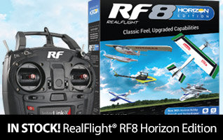 Now in stock - RealFlight RF8 Horizon Hobby Edition - Purchase RF8 for a chance to win a one of four prizes including a real flight on the Quick Silver P-51
