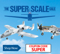 Save up to $30 on select scale airplanes with coupon code SUPER through September 30, 2018