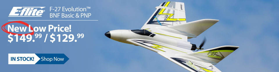 New Outlet Price! E-Flite F-27 Evolution BNF Basic, 943mm