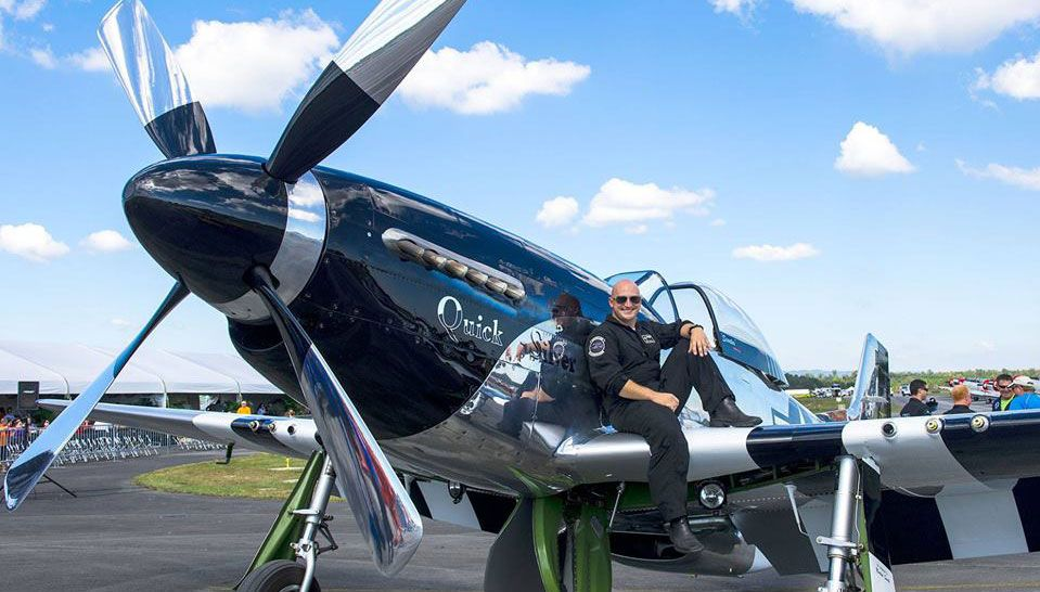 "Scott ""Scooter"" Yoak with his Quick Silver P-51 Mustang!"