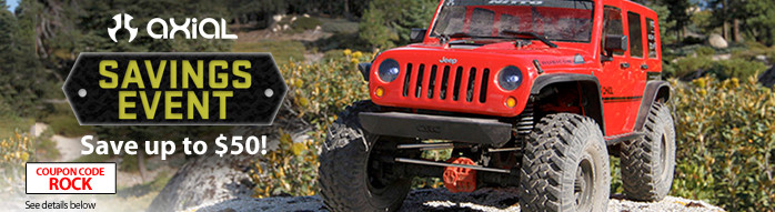 Axial Savings Event - Save up to $50 on select Axial 4WD vehicles with code ROCK through November 30, 2018